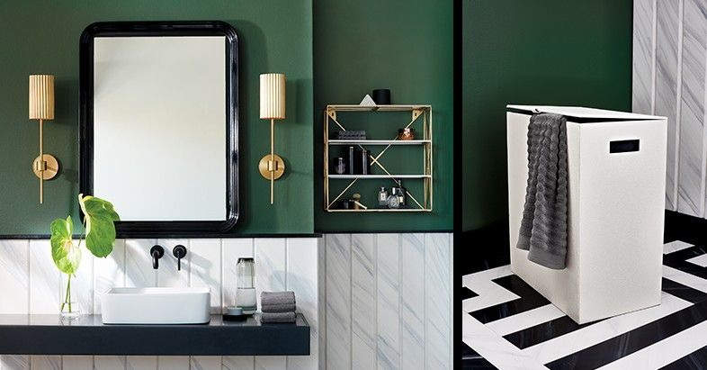 Green Bathroom Black Mirror White Hamper Gold Stool Gold Wall Sconce Green Bathroom Black And White Tiles Bathroom Green Tile Bathroom