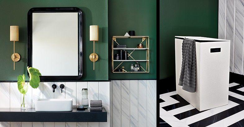 Green Bathroom Black Mirror White Hamper Gold Stool Wall Sconce