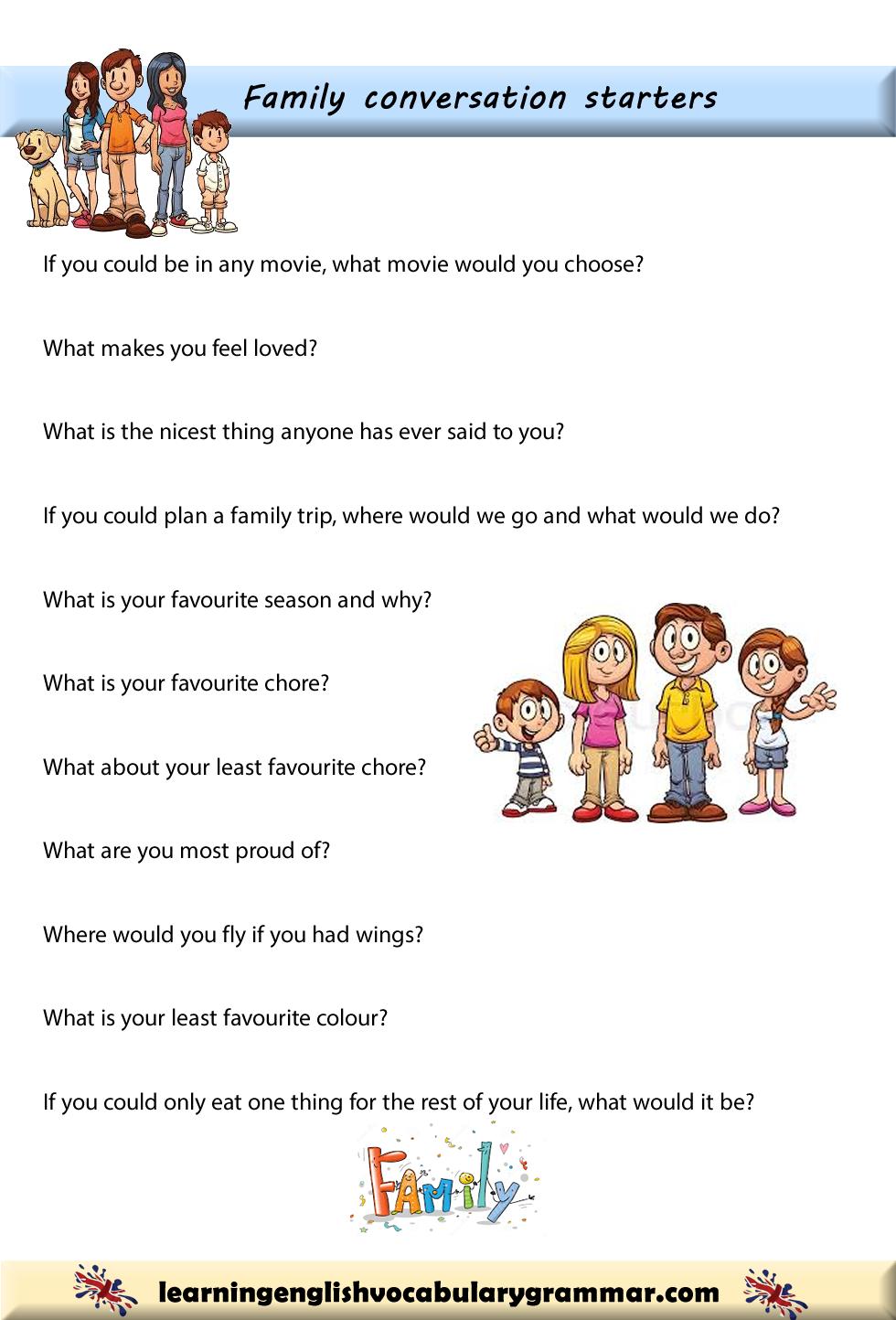 Conversation starters for family gatherings | Ingilizce