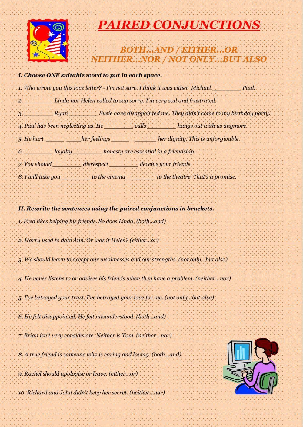 medium resolution of Correlative Conjunctions Worksheet 5th Grade Paired Conjunctions  Conjunctions Worksheet   Conjunctions worksheet