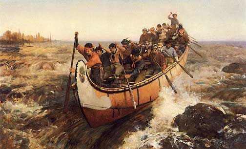 Image result for Shooting the rapids, oil painting by frances anne hopkins