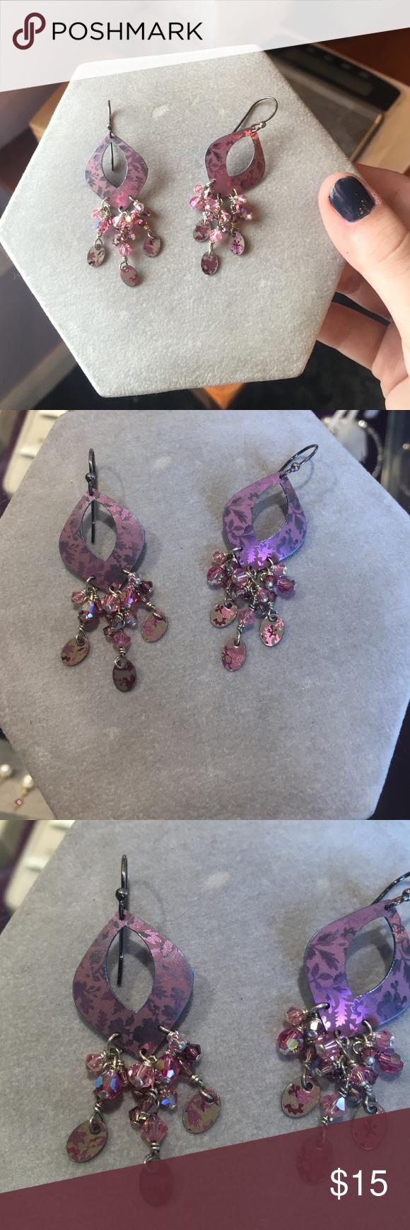 Sterling silver pink earrings Beautiful pink earrings made of metal with Sterling silver findings. The pink metal have metallic designs on them Jewelry Earrings