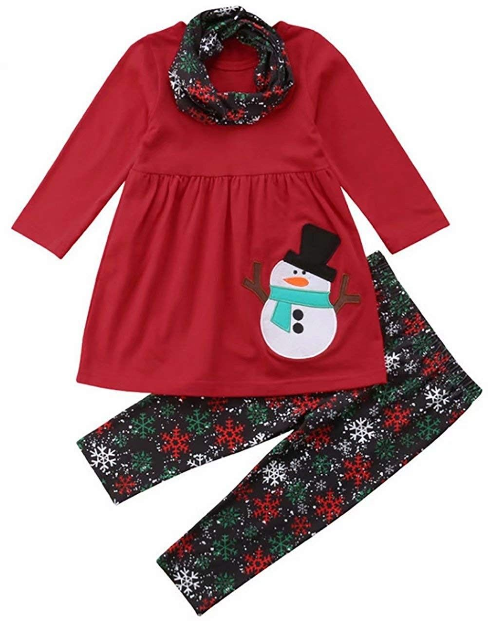 Santa pictures school party Christmas party Snowflake Reindeer Ruffle Style Short or Long Sleeve T-shirt Christmas gift