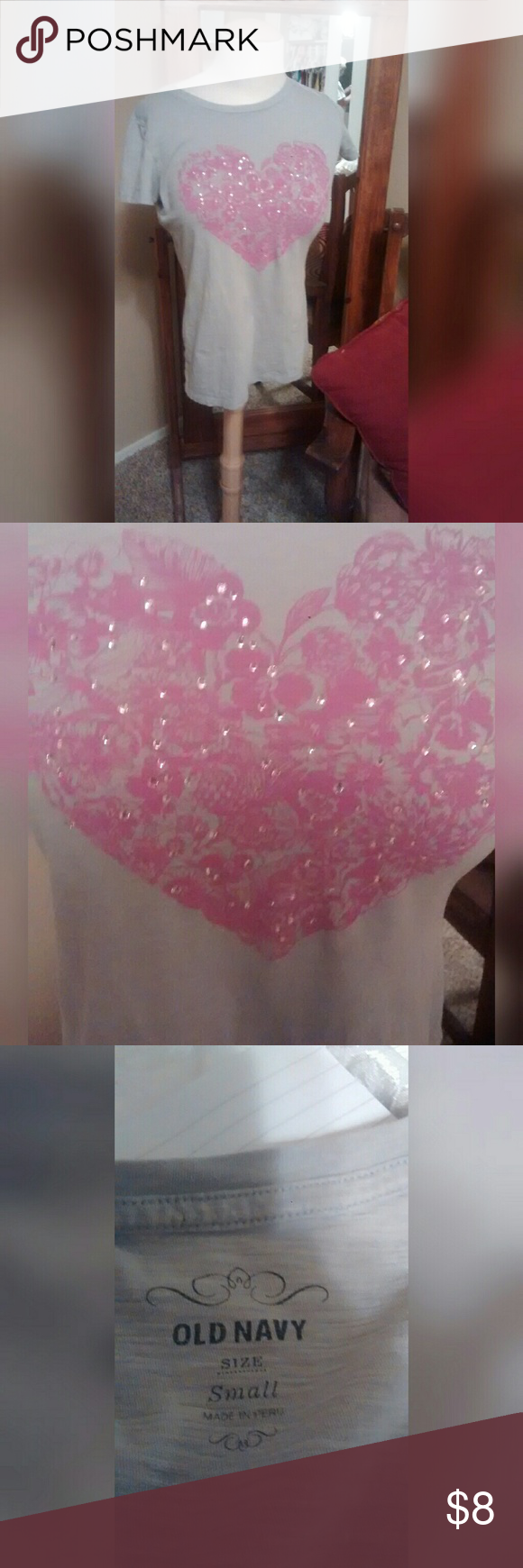 "Old Navy Tee Gray tee with pink heart. And a bit of bling! In excellent used condition. Size Small. Approx 24"" long from shoulder to hemline. Approx 20"" wide from pit to pit.  * Accepting most offers * Bundle and save! * Fast next day shipping!! Old Navy Tops Tees - Short Sleeve"