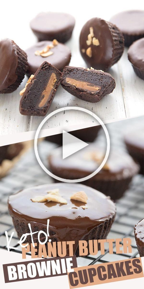 Keto brownie cupcakes stuffed with low carb peanut butter cups. Oh peanut butter lovers, this is th