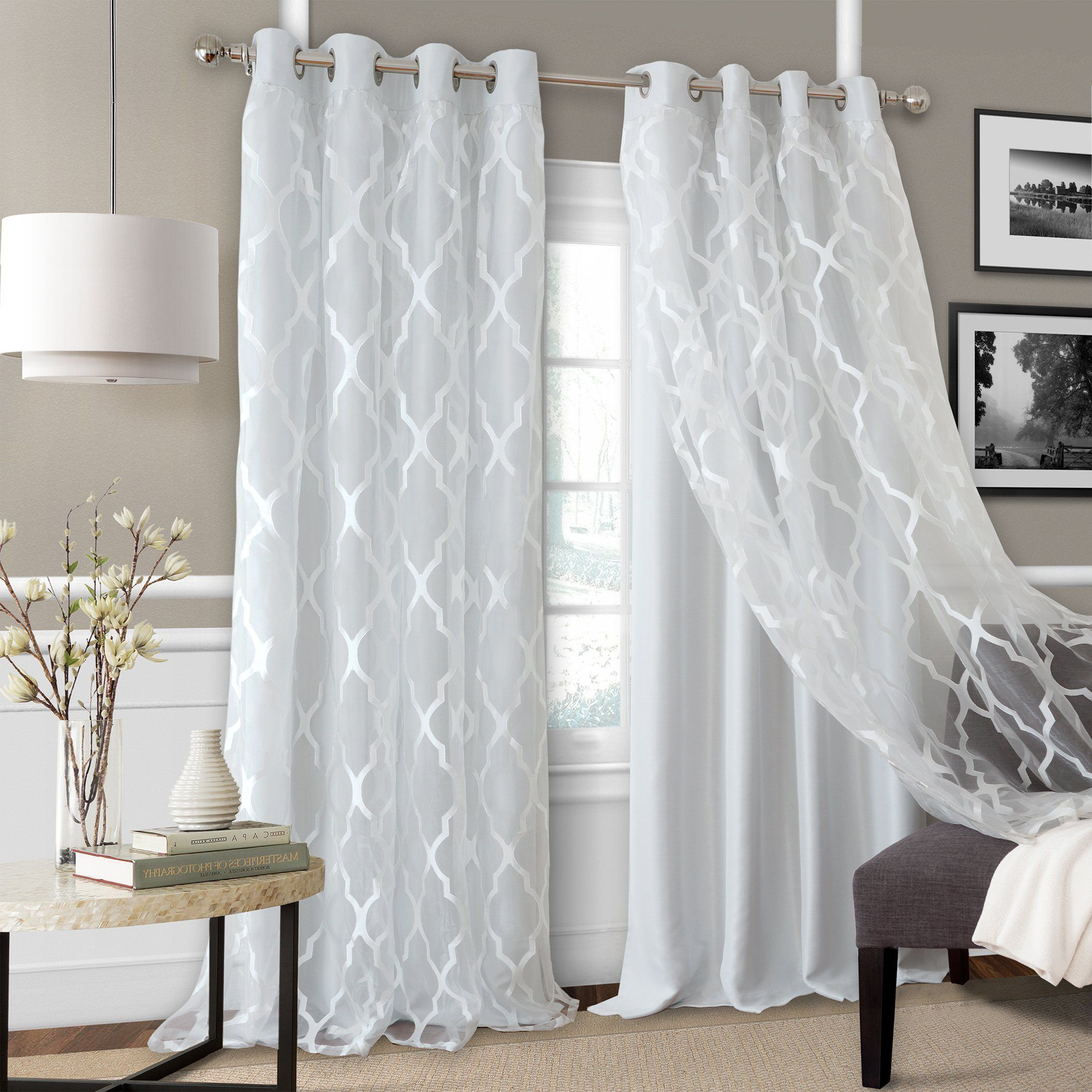 Bethany Decorative Sheer Overlay Blackout Window Collection Living Room Decor Curtains Cool Curtains Grommet