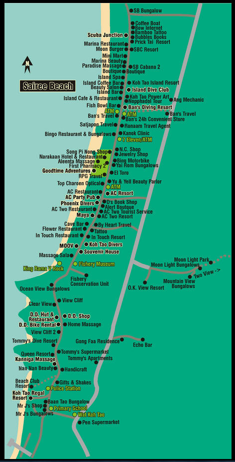 Sairee Beach Map Koh Tao Koh Tao Island Thailand Pinterest