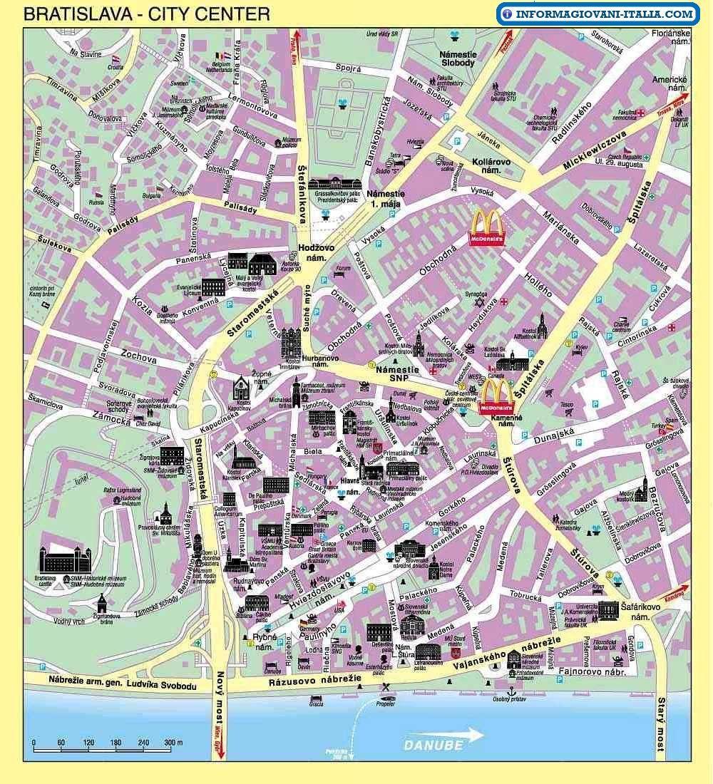 Map of Bratislava My travel bucket list Pinterest Bratislava