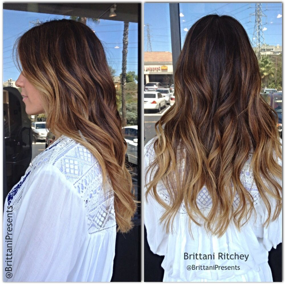 Choclate brown with golden carmel balayage highlites - Ombre hair brun caramel ...