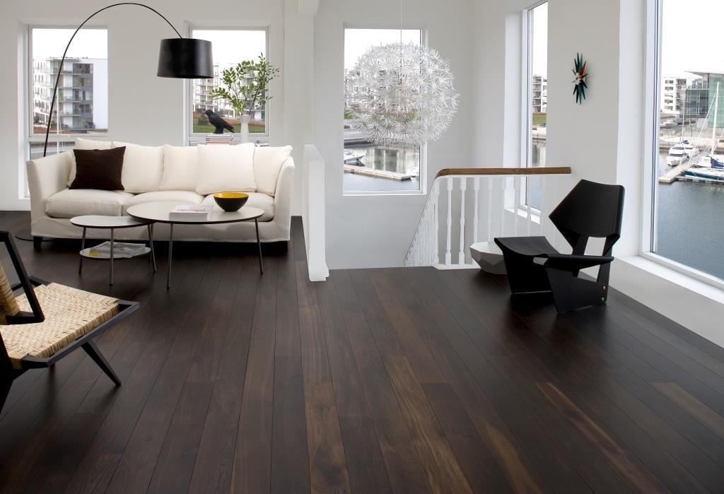 Scandinavian Design Living Room With Dark Flooring Black Hardwood Floors Living Room Wood Floor Living Room Hardwood Floors