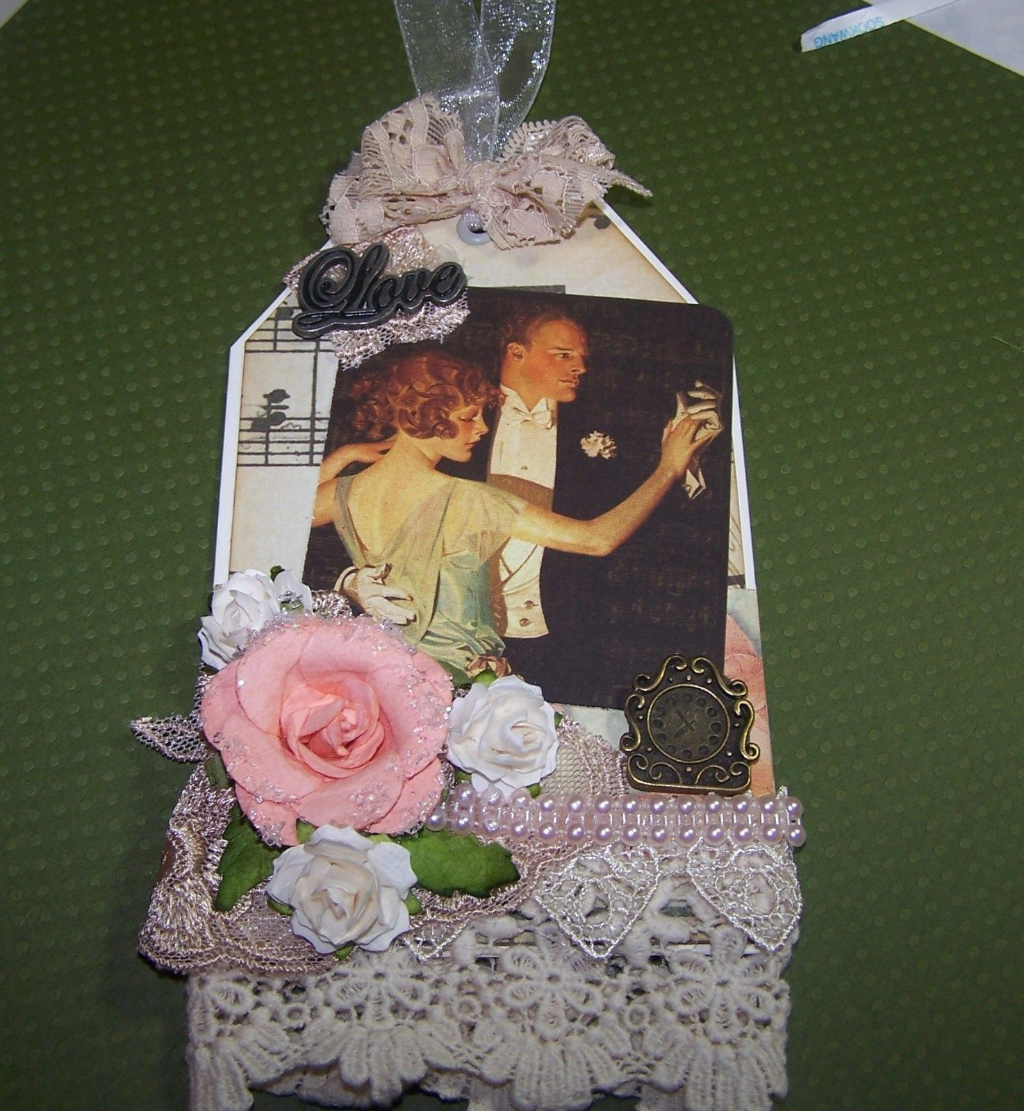 """I made this beautiful  tag for scrapbooking or gift giving. They are 3 1/2 x 6"""" without the string, and have a place for a gift card/money, note, or photo, on the back.  Much more fun than a ol' card. I have several on ebay for sale right now. Take a look.   http://www.ebay.com/itm/201344032960?ssPageName=STRK:MESELX:IT&_trksid=p3984.m1555.l2649"""