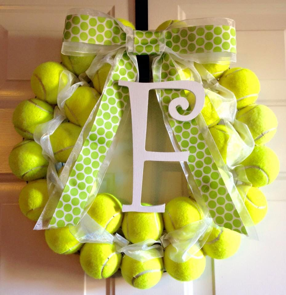 tennis ball wreath crafts pinterest tennis and wreaths. Black Bedroom Furniture Sets. Home Design Ideas