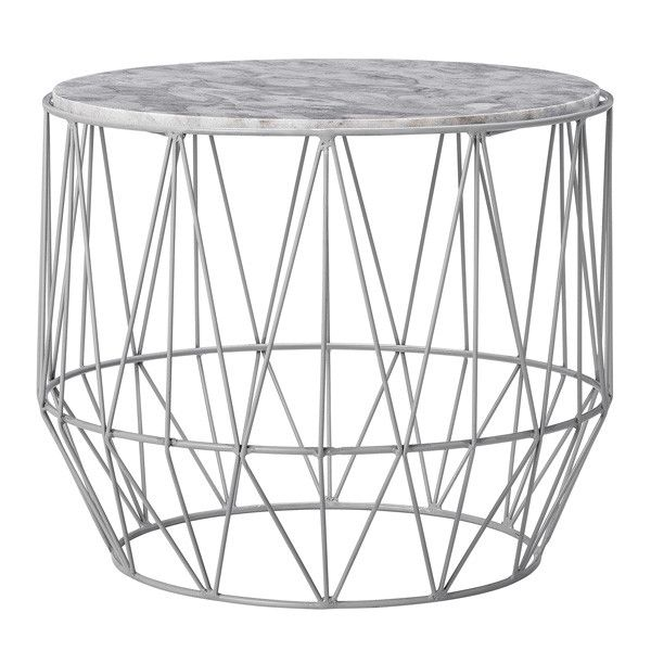 Marble And Wire Base Coffee Or Side Table Grey