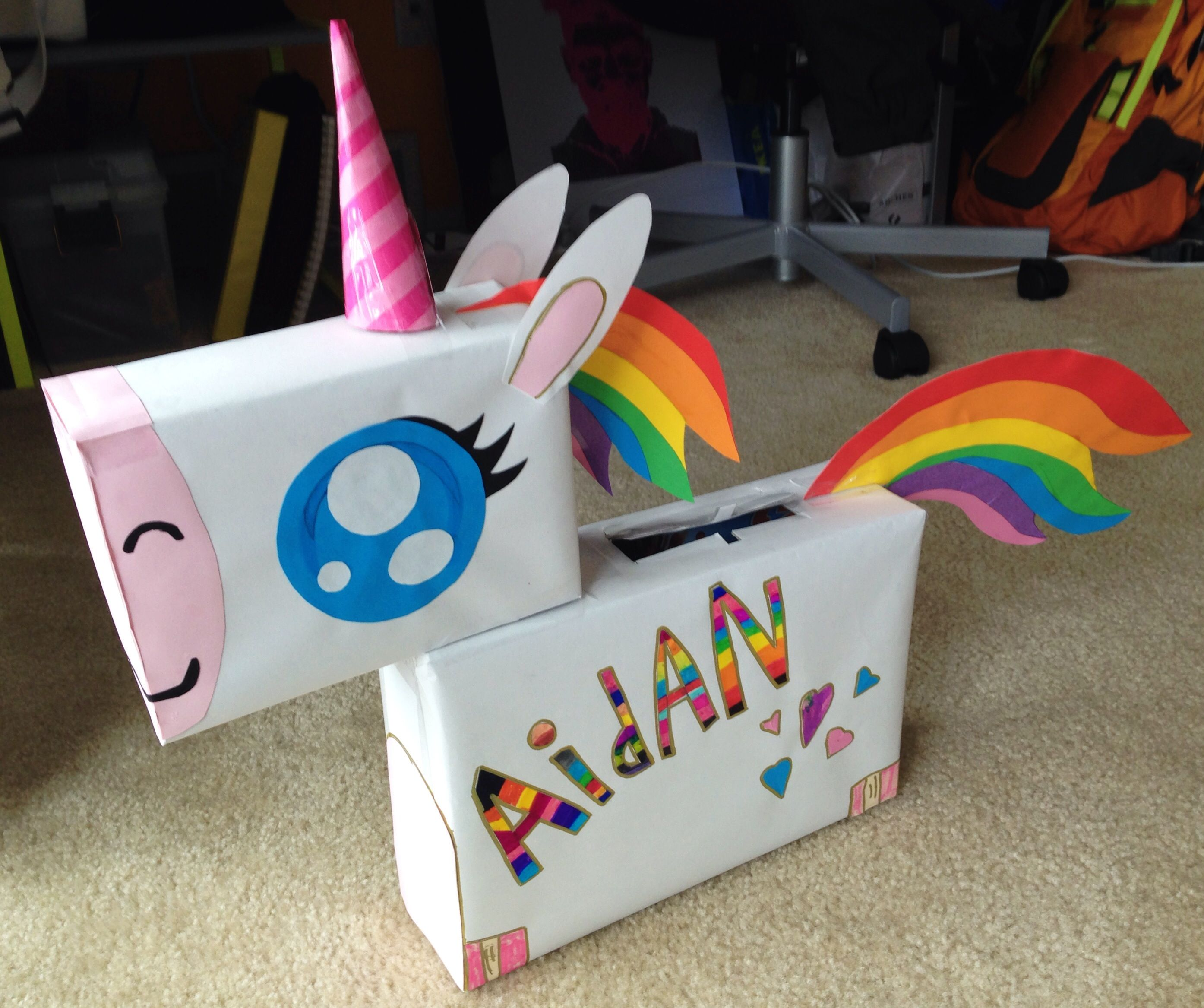Rainbow Unicorn Valentine S Box Made Using Cereal Boxes Craft
