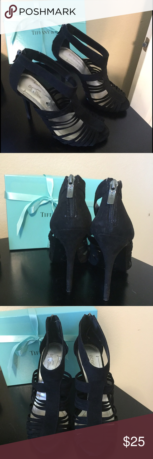 BCBG Black Velour Heels size 7 Beautiful black heels in velour with zip up backs. Only worn a handful of times. Size 7 but can also fit a 7.5. Open to offers and trades with positive feedback. BCBGeneration Shoes Heels