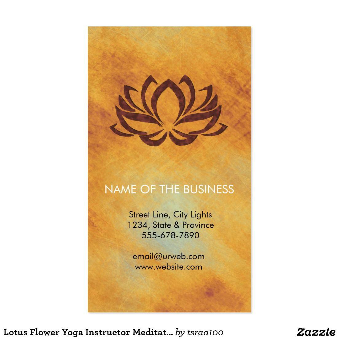 Lotus Flower Yoga Instructor Meditation Holistic Business Card ...