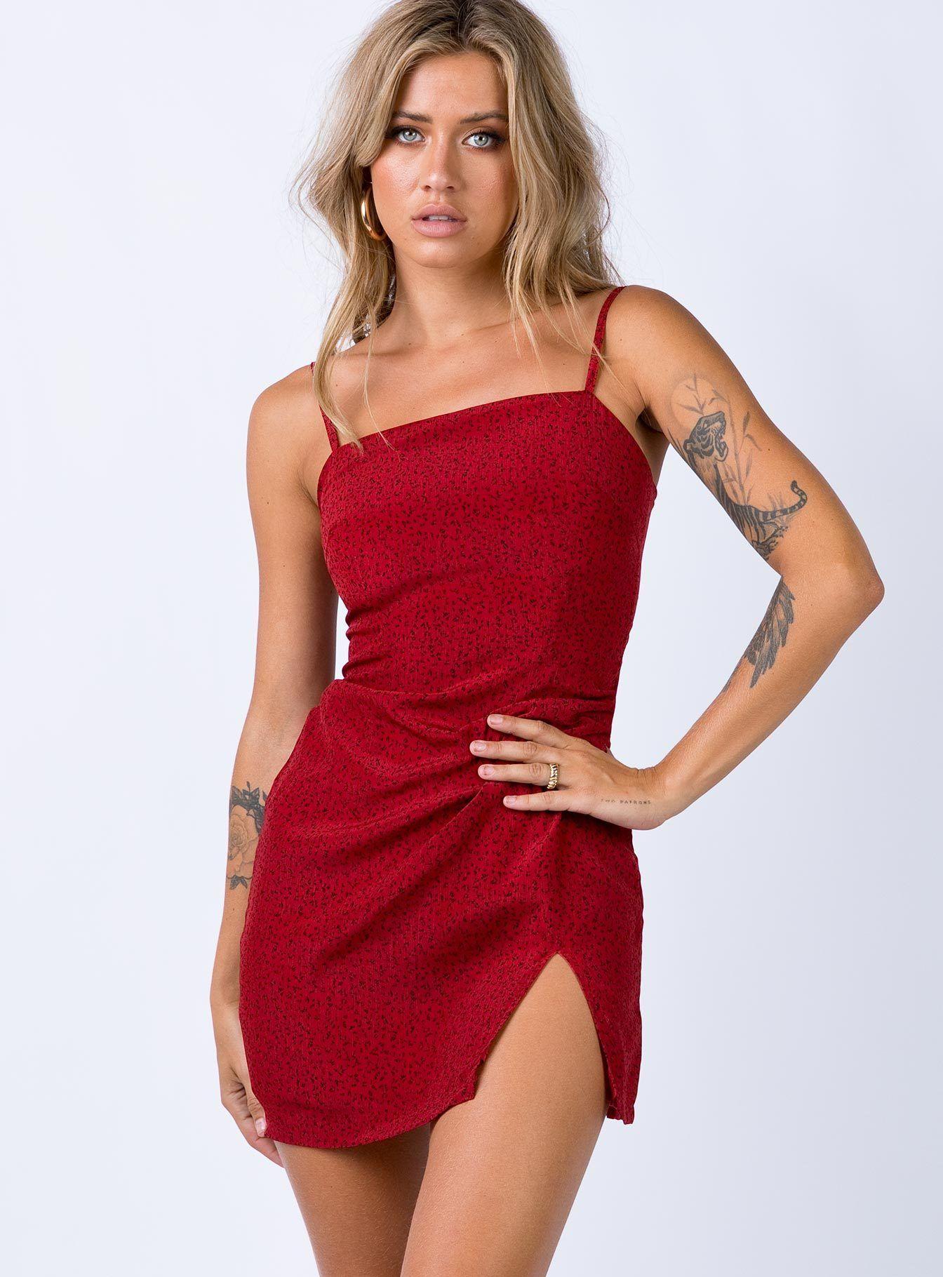Hague Mini Dress Red Print US 0 / Red Print Cute plus