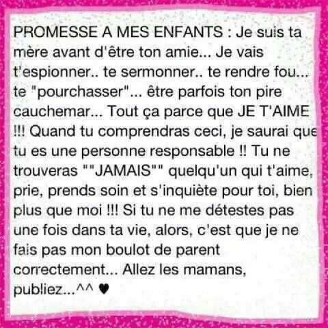 Promesse A Mes Enfants Maman Citation