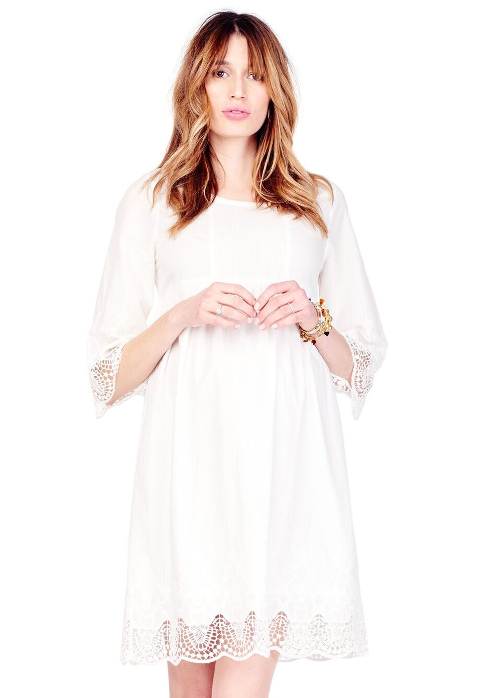 a16b53f75bc Queen Bee Lace Trim Bell Sleeve Maternity Dress in Ivory by Ingrid   Isabel