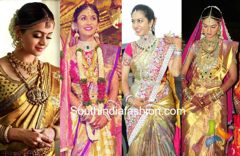Top 15 Wedding Saree Looks Of South Indian Celebrity Brides South Indian Wedding Saree Celebrity Bride Wedding Saree Indian