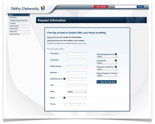 DeVryUniversity landing page (Bad Headline is not engaging No - social security request form