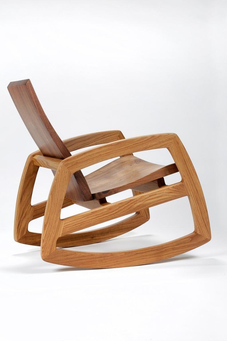 Cascade rocking chair in walnut and white oak.  Etsy in 8