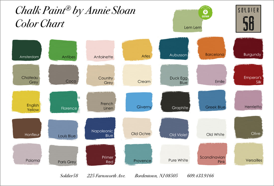 Chalk Paint By Annie Sloan Available At Soldier58 In Bordentown Nj Annie Sloan Chalk Paint Colors Annie Sloan Colors Paint Color Chart
