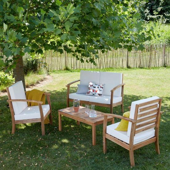 Salon bas de jardin en bois d\'acacia FSC | Acacia and Salons