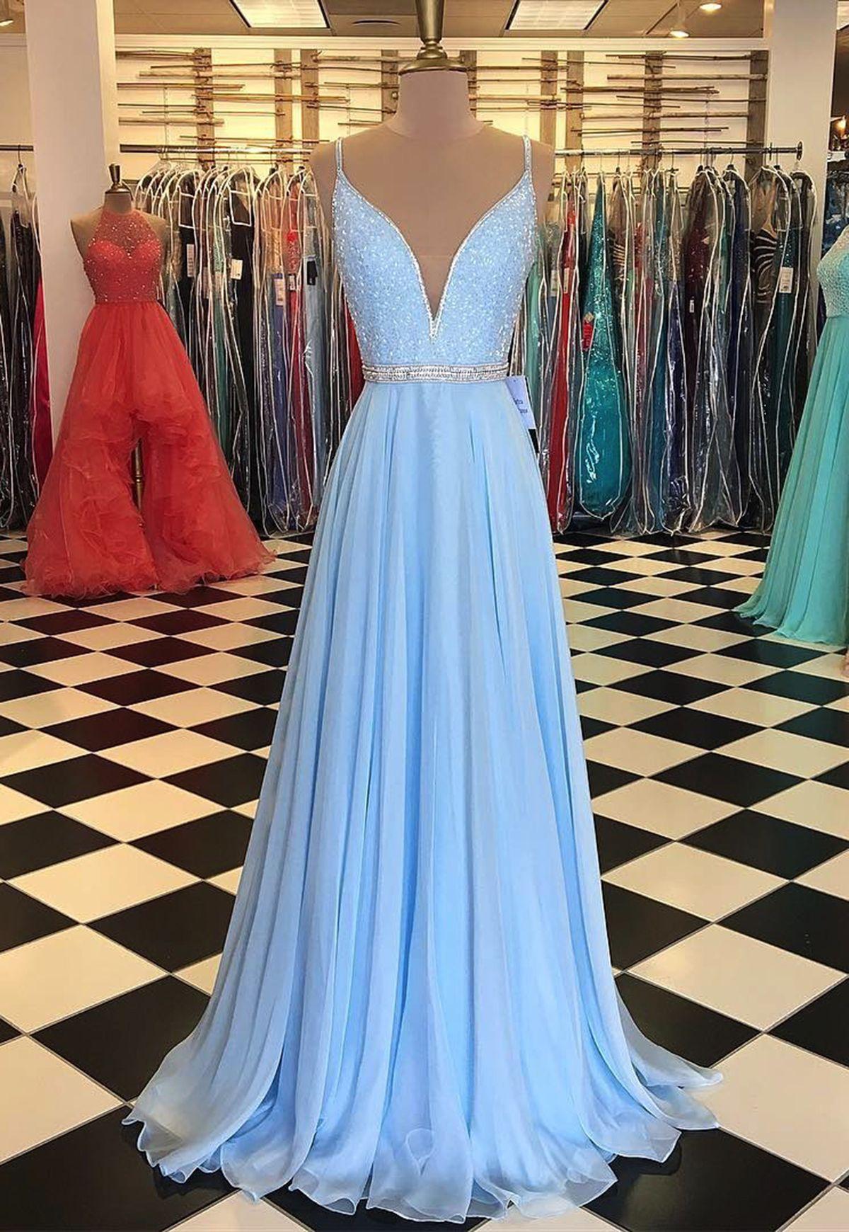 Sparkly baby blue chiffon prom dress with straps promdress
