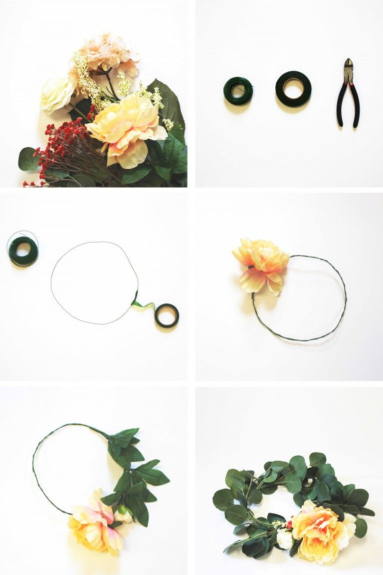 Diy How To Make Flower Crowns Flower Crowns Crown And Wedding Bag