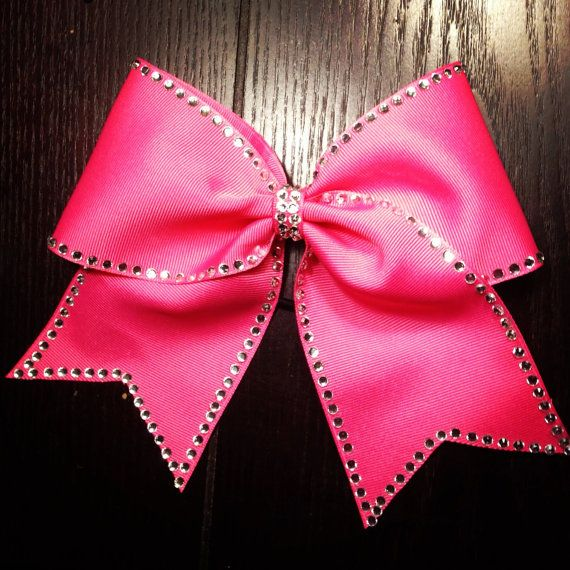 Hot Pink rhinestone traced cheer bow(more colors available)