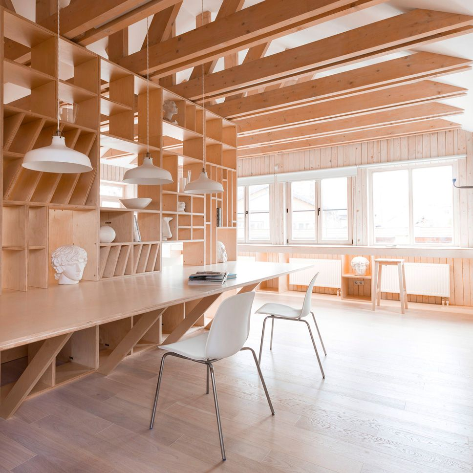 Plywood artistus studio by ruetemple combines areas for storage