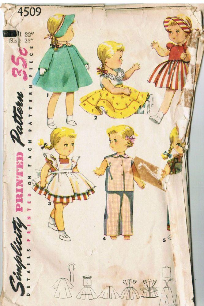 "Vtg 22/"" 23/"" Saucy Walker Doll Clothing Pattern ~ Dresses Pajamas Slip Panties"