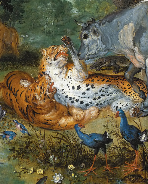 "spoutziki-art: "" Peter Paul Rubens and Jan Brueghel the Elder, The garden of Eden with the fall of man, c.1615 (detail) Figures by Rubens, landscape and animals by Brueghel """