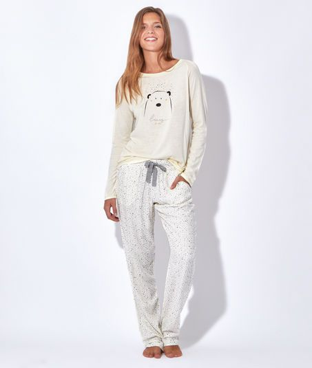 pyjama 3 pi ces veste polaire toucher peluche haut ours beary gris blanc etam mode. Black Bedroom Furniture Sets. Home Design Ideas
