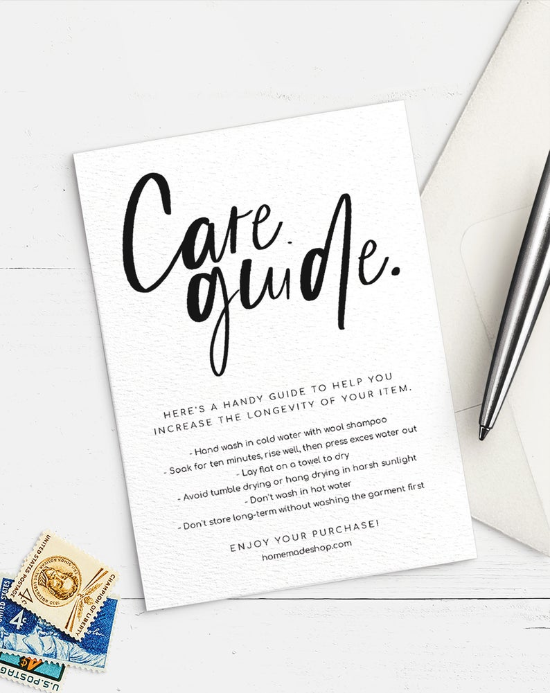 Care Guide Printable Template 4 25x5 5 Edit Download Etsy Template Printable Online Printing Companies Templates