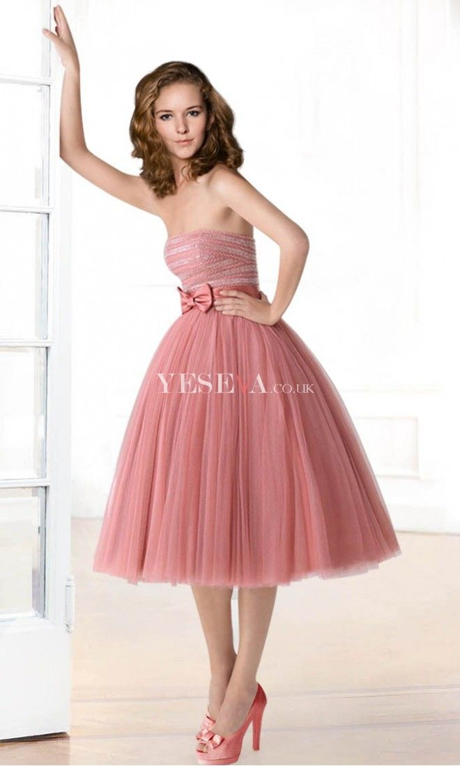 Elegant A Line Knee-Length Strapless Cocktail Prom Dresses UK with ...