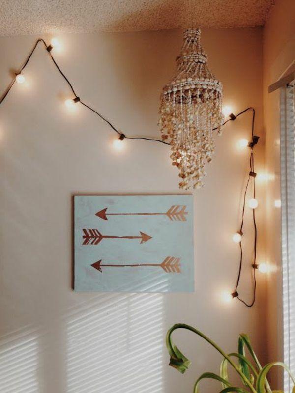 pfeile diy moderne Leinwandbilder lichterkette vintage Ideen - Bild Schlafzimmer Leinwand