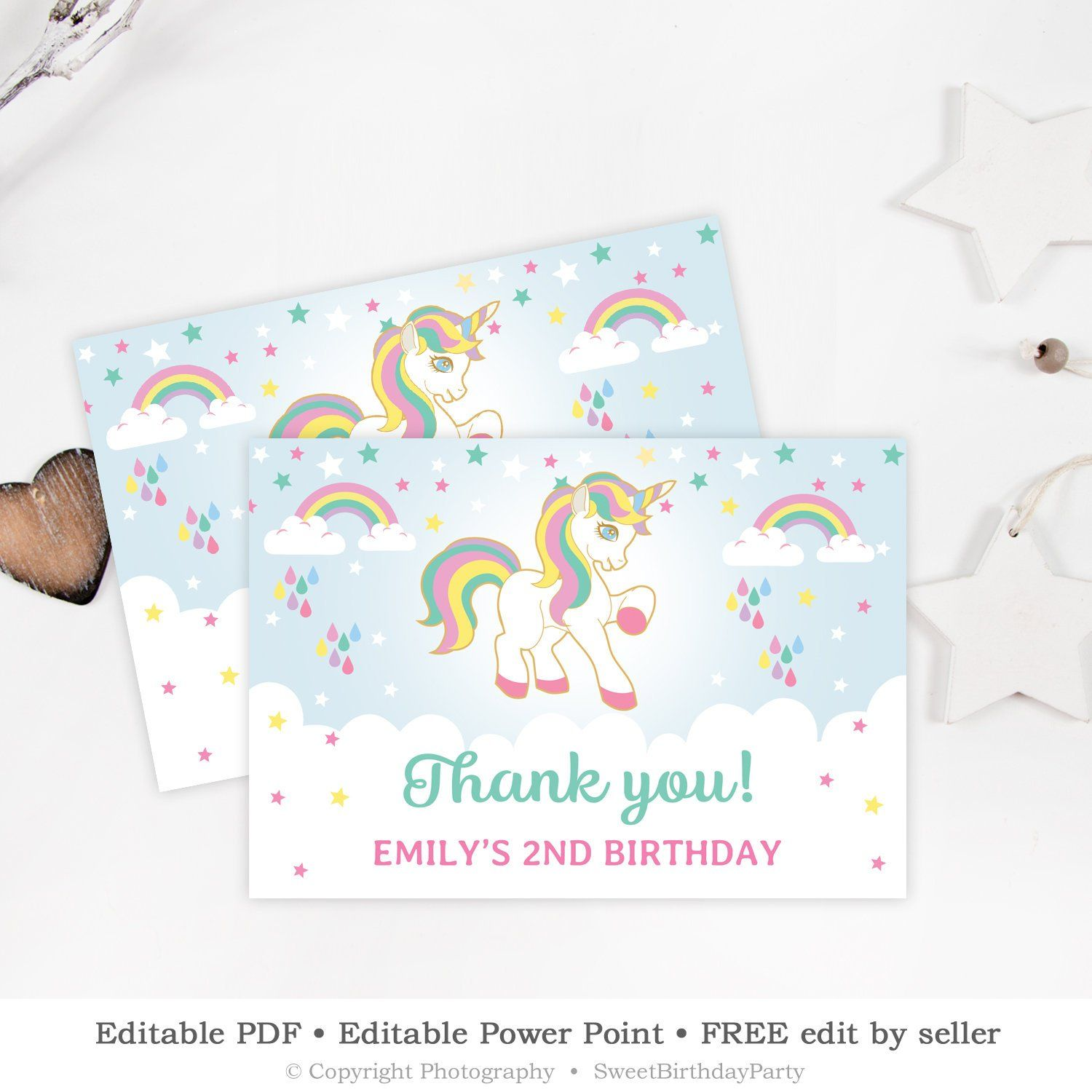 Editable Unicorn Thank You Card Turquoise Blue Mint Pink