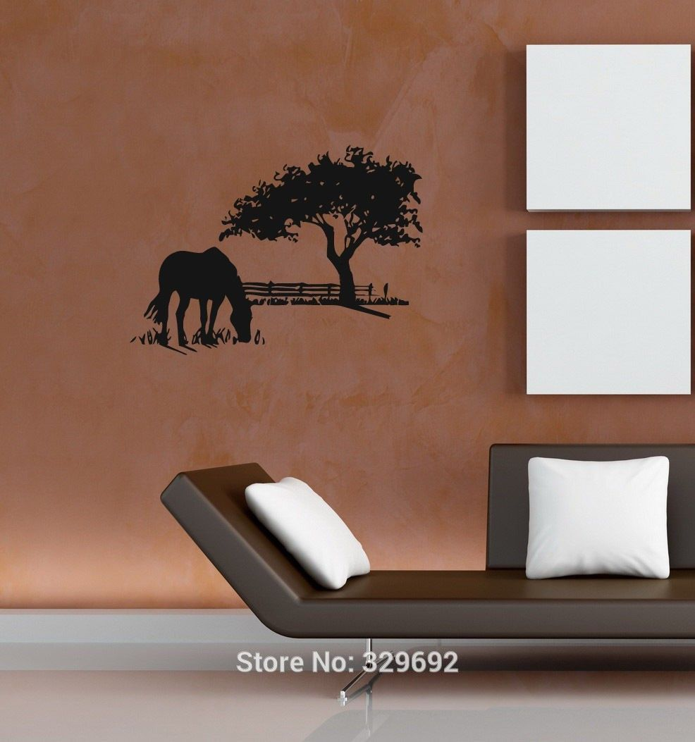 Free shipping horse on the field vinyl wall stickers home decal tree