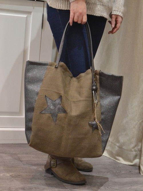 0dfd22766e Sac cabas fait main avec étoiles toile de lin kaki et simili cuir gris  anthracite pailleté marque française Nature et Lin