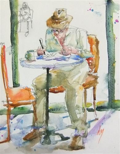 Watercolour Painting Of Man Doing Crossword Puzzle In Cafe By Nora