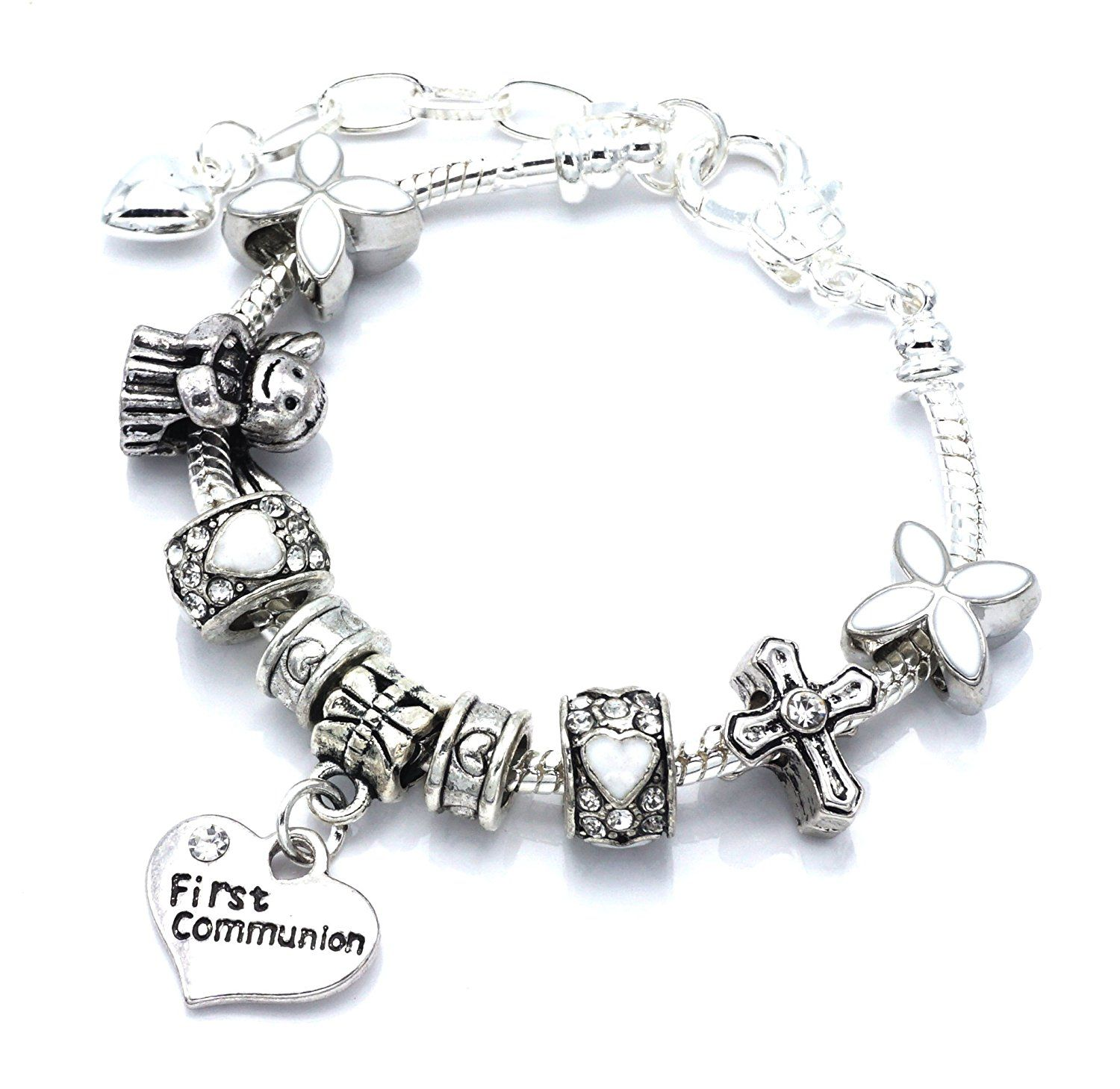 Childrenusgirls first communion charm bracelet with gift box