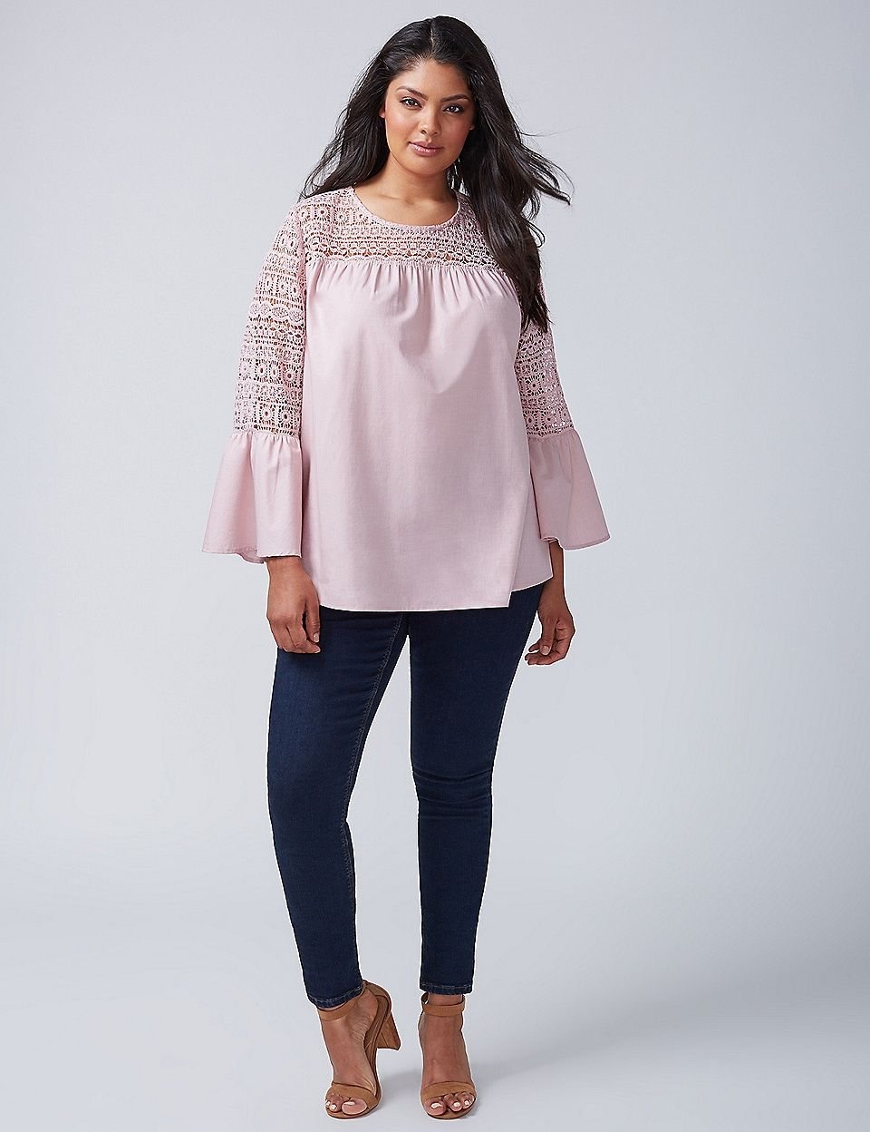 Crochet Bell Sleeve Top Lane Bryant Plus Size Tops Tops Plus