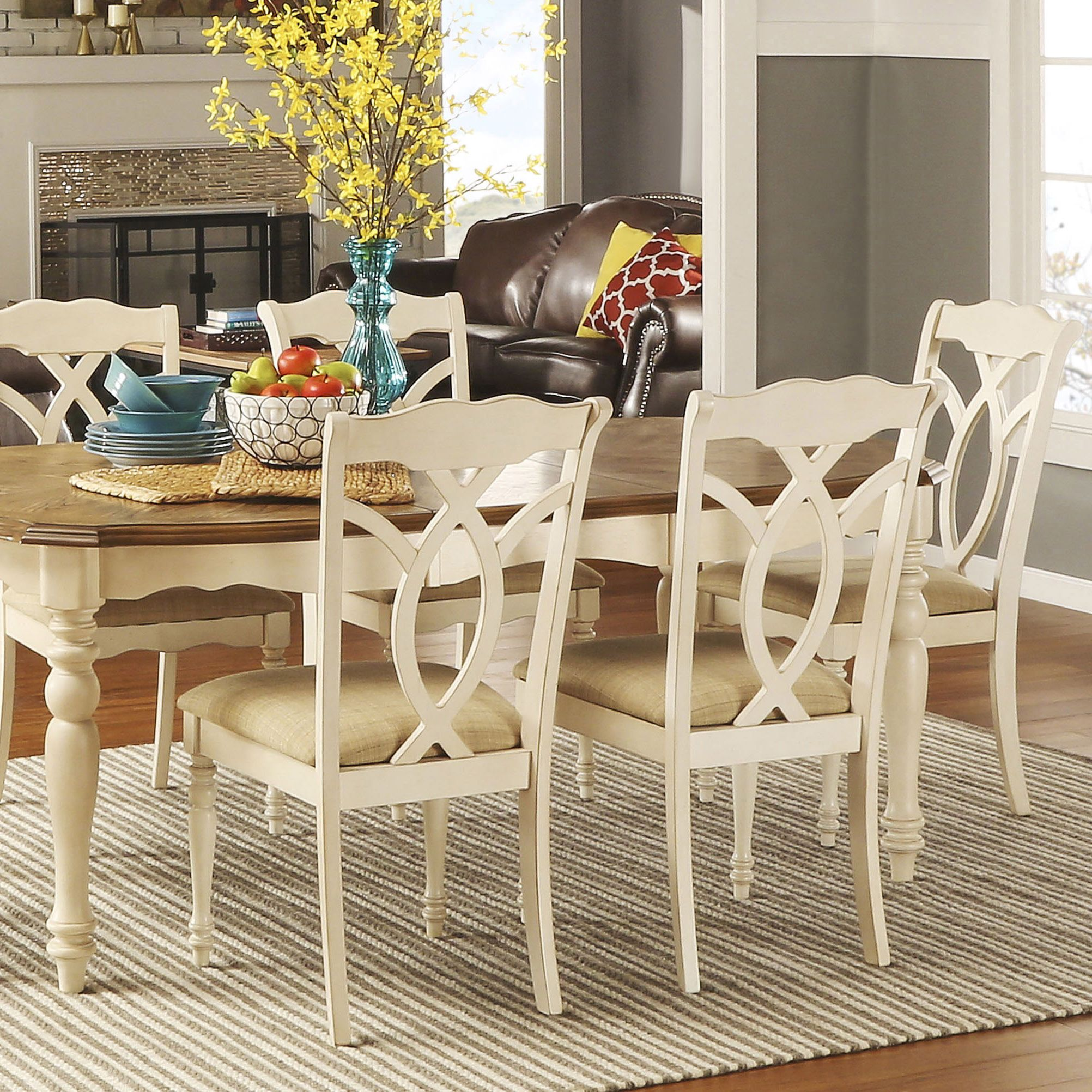 Shayne Country Antique White Beige Dining Chairs Set Of 2 By Inspire Q Classic Beige Dining Chair White Kitchen Chairs Shabby Chic Table And Chairs