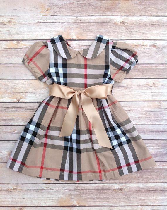 e1be47bc0 Khaki Tan Red Plaid Peter Pan Collar Toddler Baby Girl Dress ...