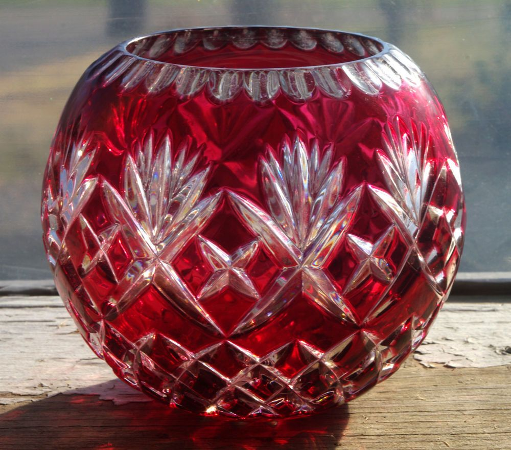 Us 3499 in pottery glass glass glassware wormhole vintage antique bohemian ruby red cased glass cut to clear crystal rose bowl reviewsmspy