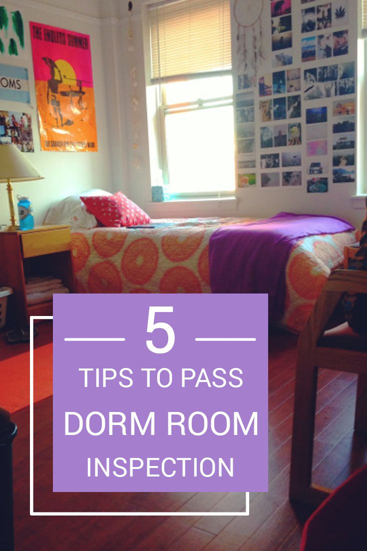 College loft bed ideas   Tips To Pass Dorm Room Inspection  Dorm room Dorm and College