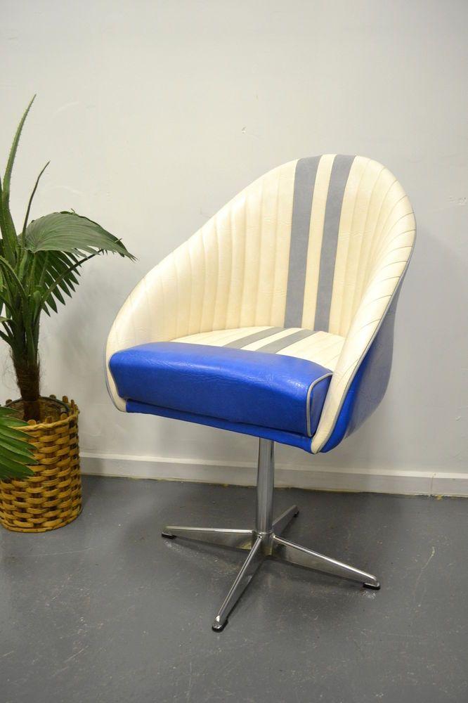 Vintage Retro Swivel Office Chair Boat Chair Vinyl Kendall Base