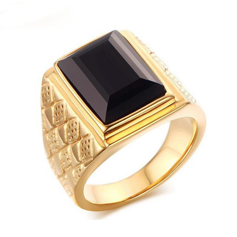 Large Stone Ring for Men Male Black Stone Ring Quality Gold-Color ...